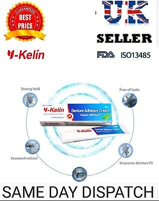 Complete Denture Adhesive Cream Super Strong Hold  Y-KELIN not Fixodent - UK