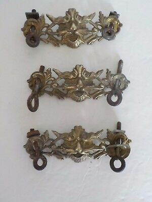 Lot 3 Antique Drawer Pulls Lions Head Gold Tone
