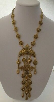 Vintage Egyptian Revival Antique Gold Tone Dangling Necklace