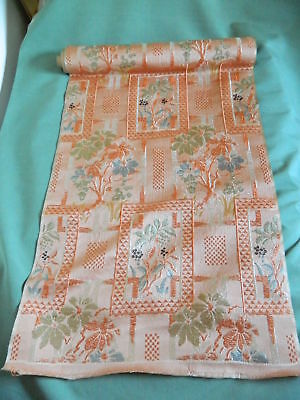 ANTIQUE JAPANESE SILK OBI FABRIC ORIGINAL BOLT 4.3 METERS Floral designI
