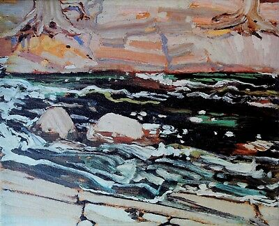 Tom Thomson Lithograph On Canvas Group Of Seven Dark Waters Circa 1980's