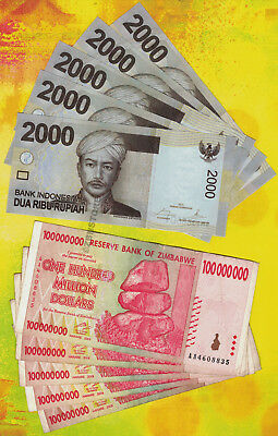 5 x 100 Million Zimbabwe Dollars 2008 +5 x 2,000 Indonesia Rupiah Banknotes 2014