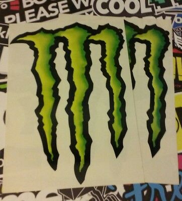 "2 huge Monster Energy Claw Sticker Large Logo Decal Sheet 14"" X 10"""