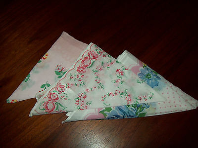 3 Moda Home Hankies - Flowers Floral - Lots of Pink - Cotton - Sweet Gift