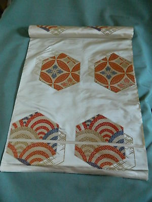 ANTIQUE JAPANESE SILK OBI FABRIC ORIGINAL BOLT 4.3 METERS Geometric Design