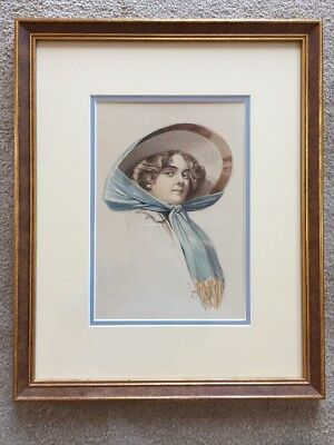 Original Watercolor Painting Vintage Fashion Lady Artist Signed Sweeney. Framed