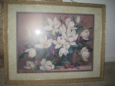"Home Interior by Barbara Mock Large Magnolias Picture 29""x24"""
