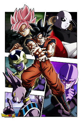 Dragon Ball Super Sagas Collage Poster Beerus to Jiren 12inx18in Free Shipping