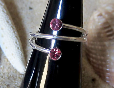 Toe Ring Sterling Silver 925 Adjustable Pink Stone Foot Jewellery Women Midi New