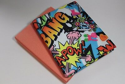 Book Sock, Stretchable Book Cover, Book Protector, 2 pc set, Graffiti