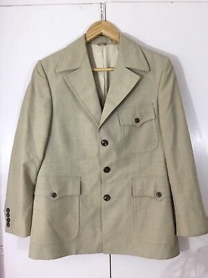 VINTAGE 60's 70's Retro FLETCHER JONES SAFARI SUIT JACKET Wool Blend