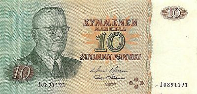 Finland 10 Markkaa 1980 P 111 Series J circulated Banknote
