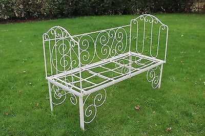 Antique French Metal Victorian Cot Bed Bench Seat Refinished Restored with foam