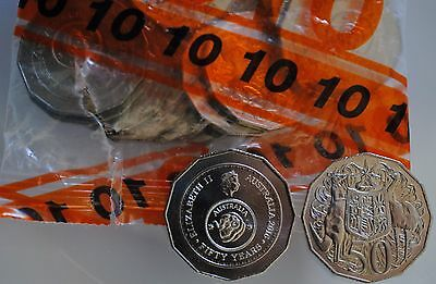 1 x 2016 50 Cents UNC Coin Fifty Years of Decimal Currency Ex Security Bag
