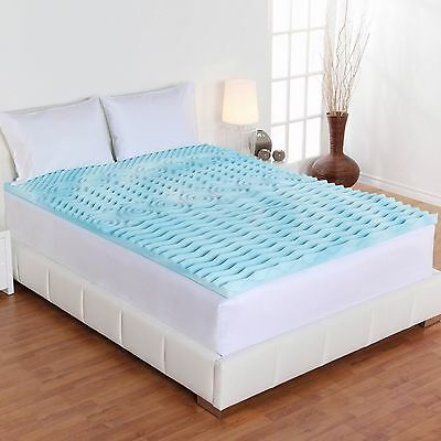 """Cooling Gel Foam Mattress Topper Pad Bed Queen Size 2"""" Orthopedic Firm Cover Bed"""