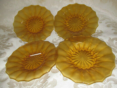 Vintage 4x. Bagley Frosted Amber Glass Small Plates Beautiful Ea.18CmW