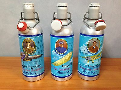 Lot of 3 Rare Pilot's Beer Aluminium Beer Bottles
