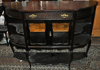 Antique Ebonised Pretty Sideboard Display Cabinet