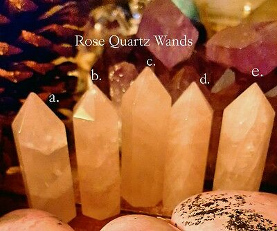 SAGE: ROSE QUARTZ CRYSTAL Point,  (ONE) Self-standing,  Rainbows ,Self Love