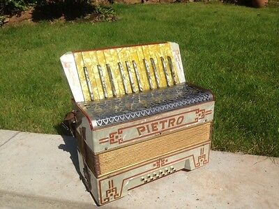 Vintage Pietro 25 Note Keys and 12 Bass Keys, Steel Reed Piano Accordian German