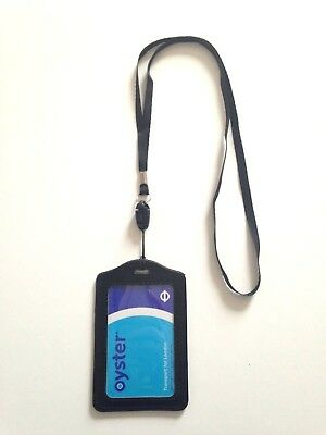 1xBlack Leather Oyster Card,Bus Pass,Student ID Card,Access Card Holder Lanyard.