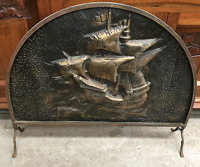 Vintage Brass Fire Screen Embossed Theme Nautical Ship