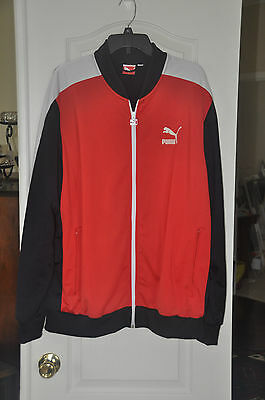 Puma Full Zip Red Front with Black back and Sleeves Windbreaker Jacket. Size XXL
