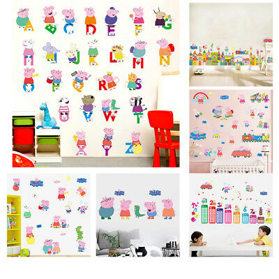 Large Peppa Pig Wall Stickers George Family & Friends Sticker Kid Bedroom Decor