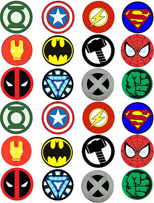 Super Hero Marvel Logos Logo Edible Cupcake Cake Wafer Toppers x 24 (N2)