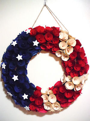 Patriotic 4Th Of July American Wreath.wooden Roses Patriotic Wreath.hand Made Be