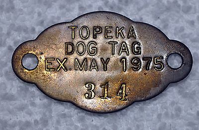Vtg 1975 TOPEKA, Kansas Brass Dog License Cloud Shaped Tax Tag #314