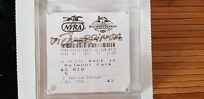 Triple Crown Winner Victor Espinoza Signed 2015 Belmont Stakes $2 Win Ticket