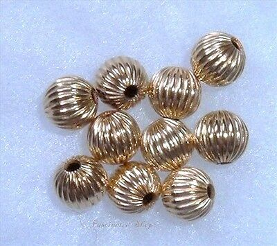 14K Gold Filled 3mm ( Hole 1.2 mm) Corrugated Round Spacer Beads USA 100pcs