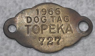 Vintage 1966 TOPEKA, Ks Brass Dog License Vaccination Cloud Shape Tax Tag 727