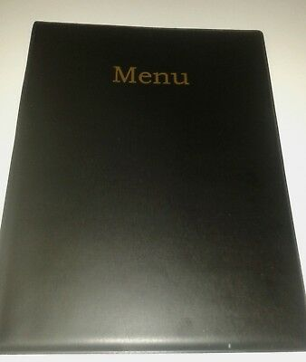 QTY 20 (20)A4 MENU COVER/FOLDER IN BLACK LEATHER LOOK PVC + extra double pocket