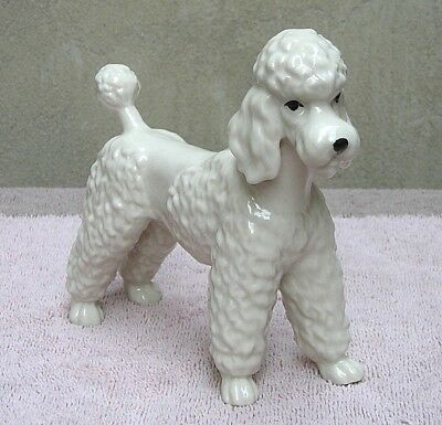 "Attractive Glazed White Ceramic ""French Poodle"" Figurine Cute 5 1/4"" Tall Hallow"