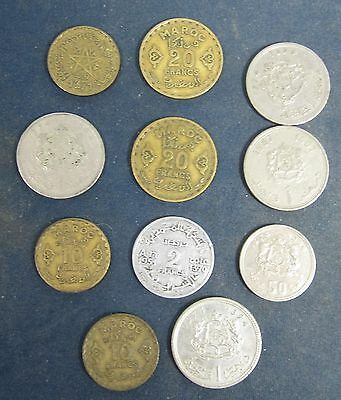 11 Old Morocco coins dating from alteast the 1950's