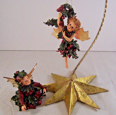 Boyds Bears Wee Folkstone Faerieberry Lot of 2 Fairy Holly Berries Ornament Box