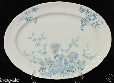 Antique 1920s Royal Doulton England Porcelain Blue Thistle Platter