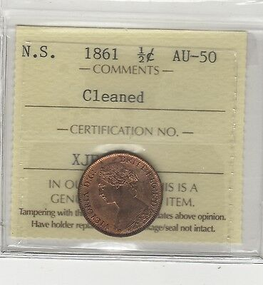 1861 1/2 Cent Nova Scotia Canadian Copper Coin SCARCE AND LOW MINTAGE 400K L@@K!
