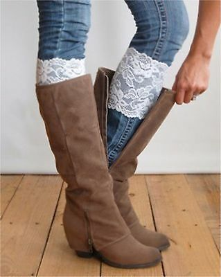 Lace Boot Cuffs - Stretchable - One Pair - 8 Different Colors - USA Seller