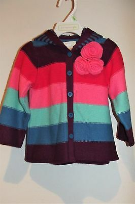 NWT First Impressions Baby Girls Hooded Striped SWEATER Coat Rose Corsage 18 M
