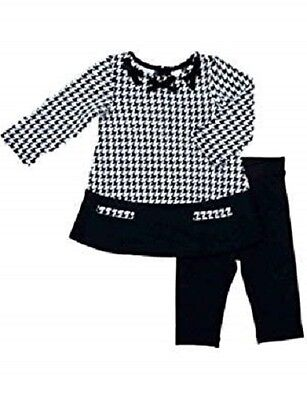 NWT First Impressions Infant Girls Houndstooth Shirt & Leggings 2 PC Set 12 M