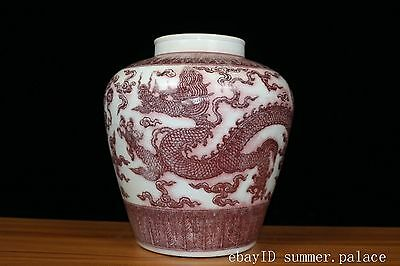 Beautiful Chinese Glaze red Porcelain Dragon Pot