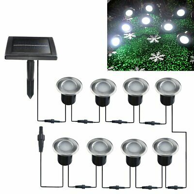 8x 40mm Solar LED IP67 Recessed Decking Lights Buried Inground Garden Deck Path
