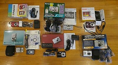 Lot of 6 Digital Cameras Kodak Canon Casio Polaroid Fujifilm Traveler for Parts