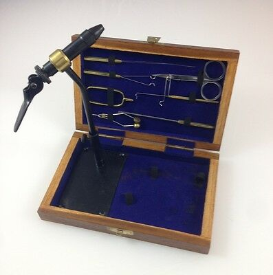 Kit, Fly Tying 9 Tools in hand made Teak Wood Carrying Box FF796 EBN
