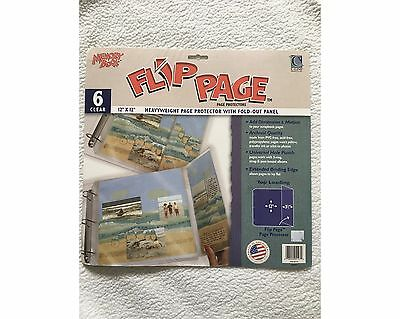 """C-Line Memory Book Flip Page 12"""" x 12"""" Page Protector with 3.5"""" Fold-out  Panel"""
