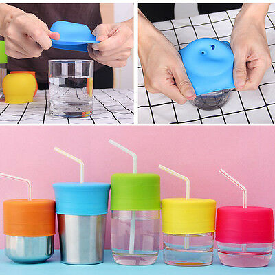 Round Universal Spill-Proof Straw Cup Lids Sipper Bottle Drinking Training Baby