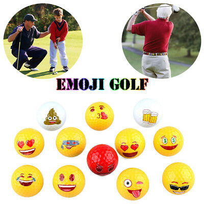 12 Styles Funny Emoji Yellow Golf Ball For Outdoor Sport Training